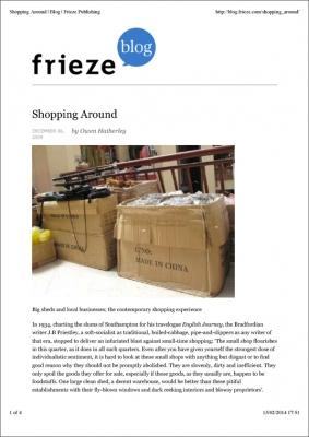Owen Hatherley Shopping Around 6 Dec 2009 Frieze Blog