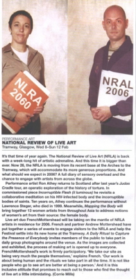 Corrie Mills National Review of Live Art  The List Feb 2006